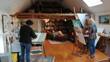 Model in het atelier
