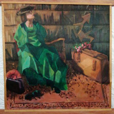 Bevroren in tijd, uit de serie Lockdown, acryl op canvas, hangend doek, 450 euro