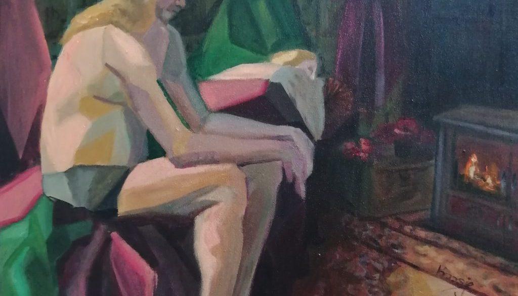 Hoofdpijn, uit de serie Lockdown, 70x70, acryl op paneel, € 450